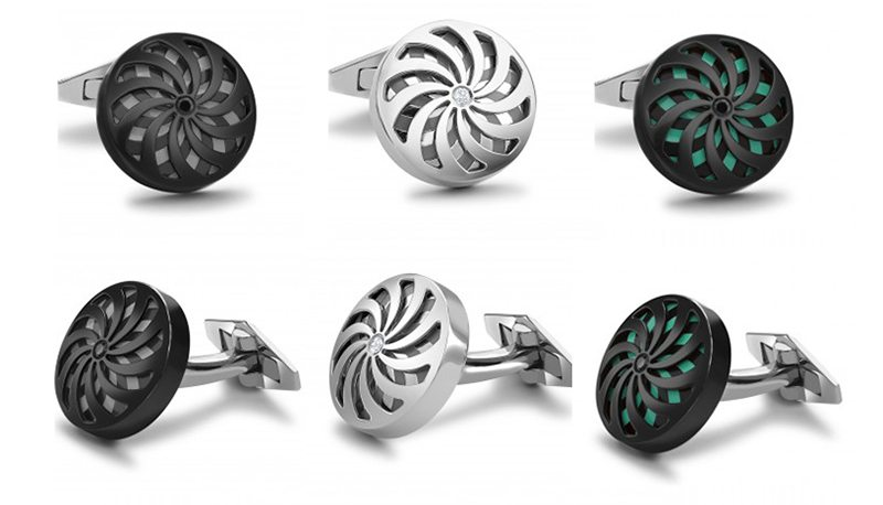William & Son Silver Spinning Flower Cufflinks