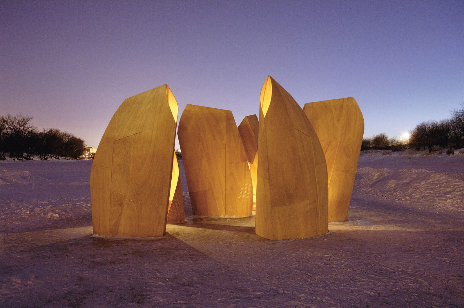 Patkua Architects Ice Skating Shelters, Winnipeg (2012)