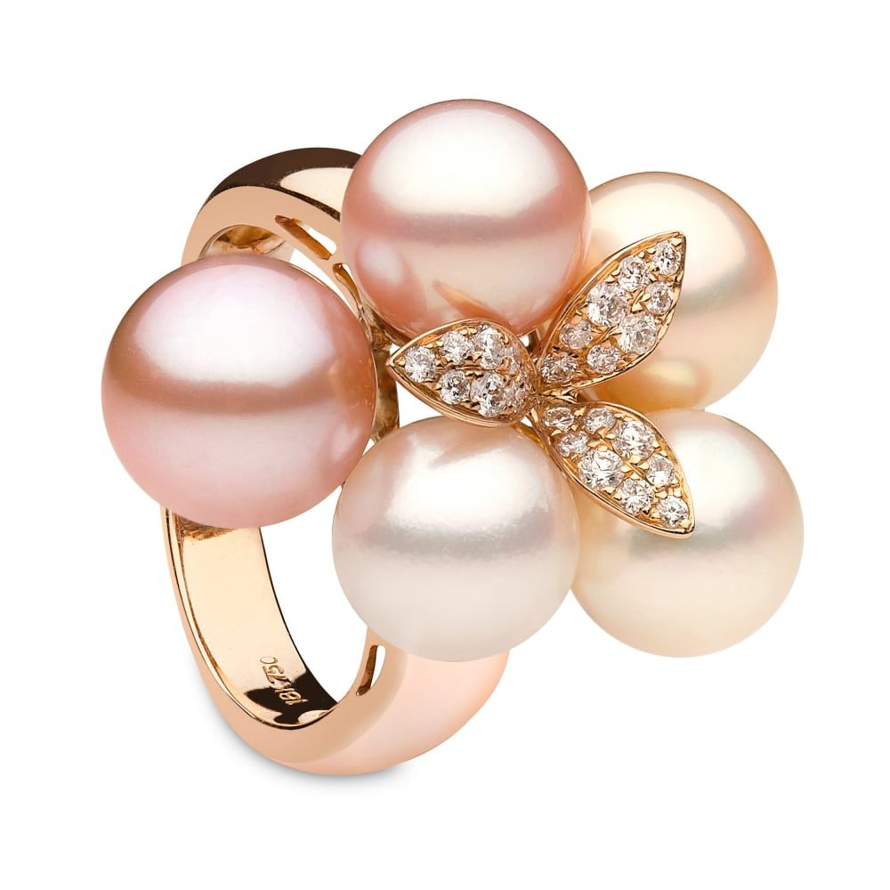 <center>Yoko London Capri Rose Gold Pearl & Diamond Ring</center>