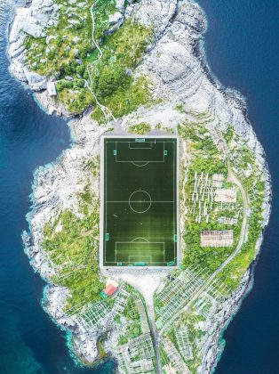 'Henningsvær Football Field' by Misha De-Stroyev