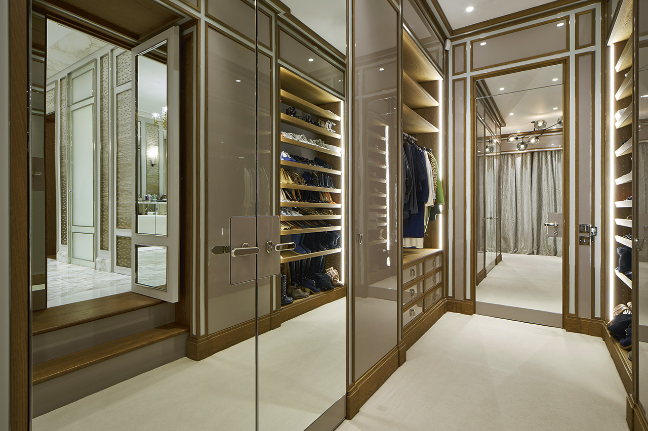 Bespoke mirrored wardrobe-for-luxury-apartment,-designed-and-manufactured by NEJ Stevenson