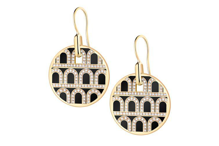 L'Arc de DAVIDOR Pendant Earring GM in 18k Yellow Gold with Lacquer and Palais Diamonds