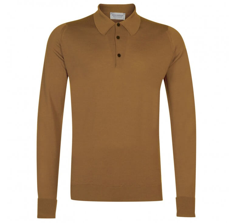 John Smedley Dorset Long Sleeved Merino Wool Polo Shirt