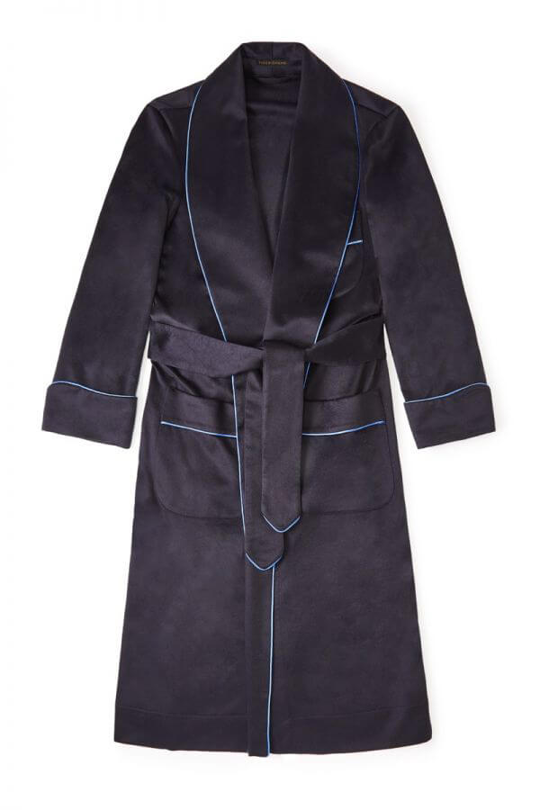 New and Lingwood Navy & Blue Unlined Cashmere Dressing Gown