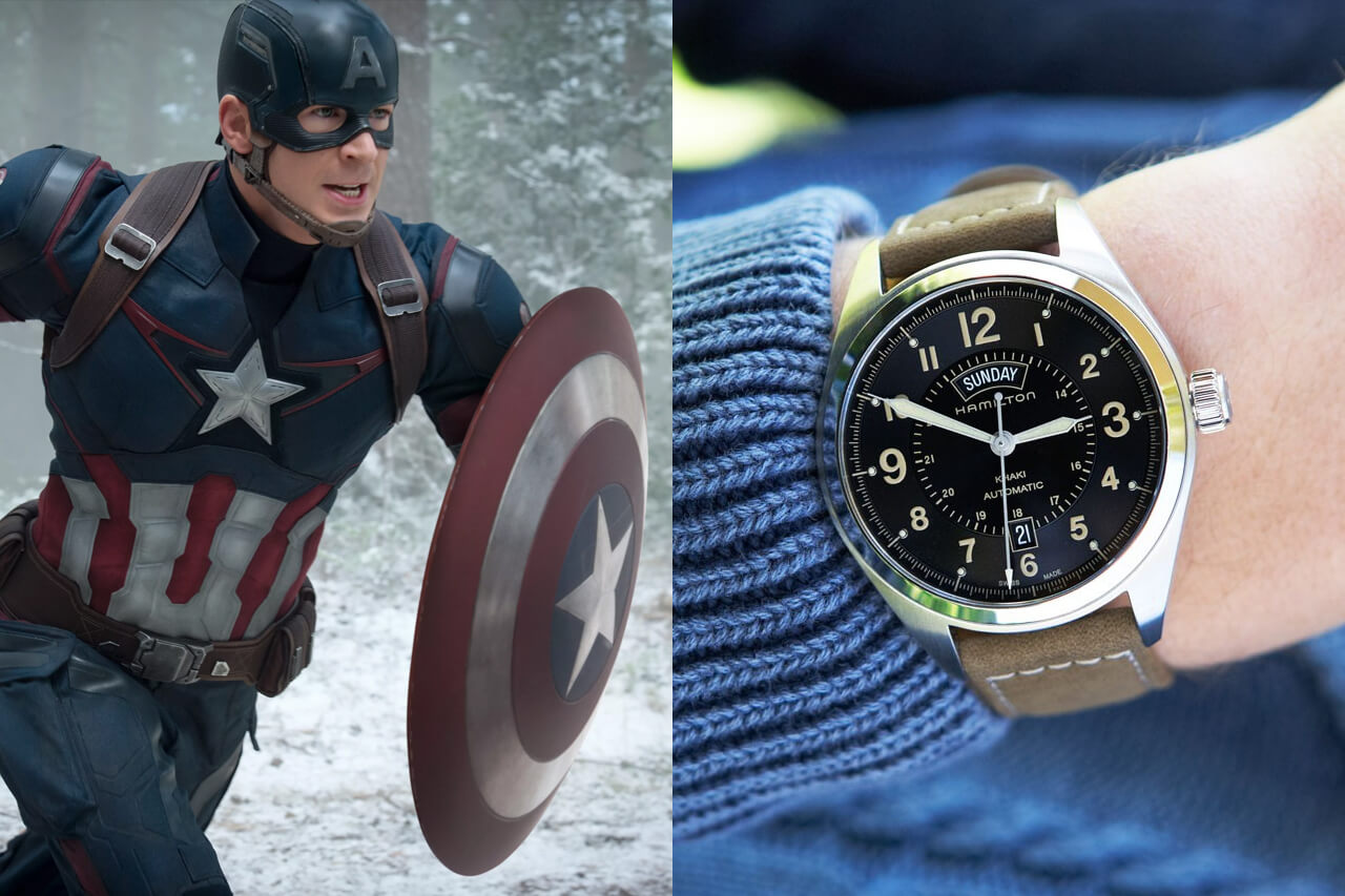 Captain America Chris Evans Hamilton Khaki Field Day Date Auto Watch