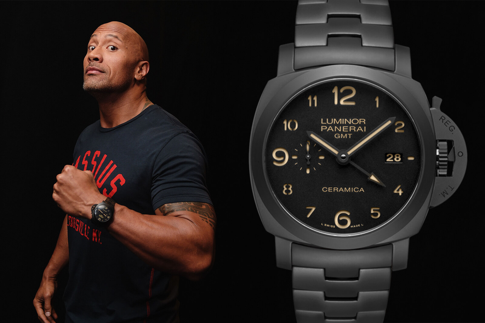 Dwayne Johnson Ceramic Luminor Panerai GMT