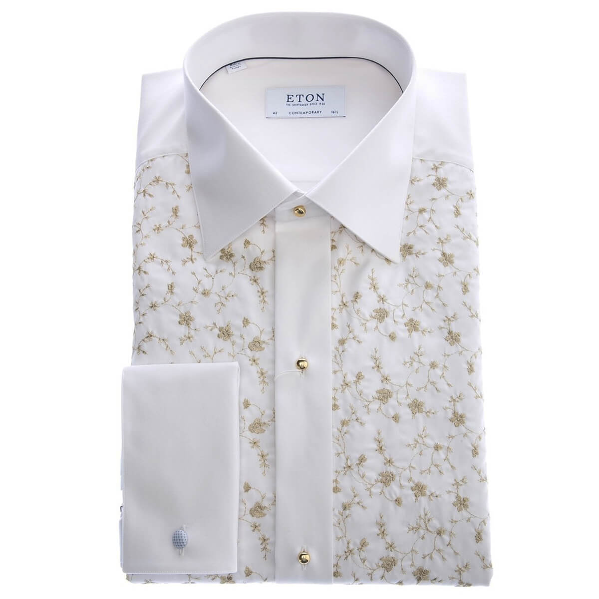 Eton Shirts White Floral Embroidery Evening Shirt