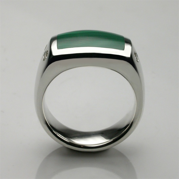 Stephen Einhorn Inlaid Palladium & Malachite Signet Ring