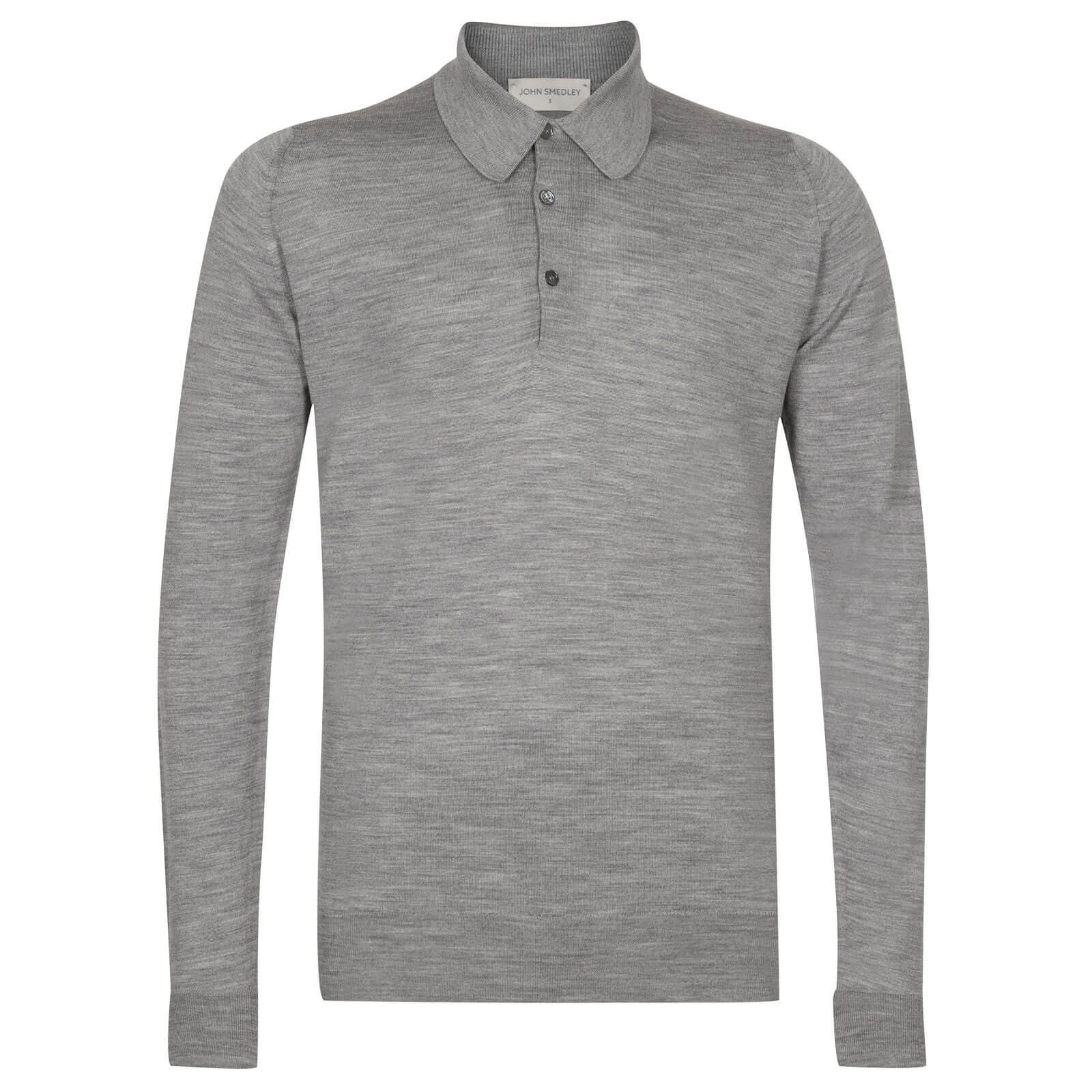 John Smedley long sleeved, three buttoned shirt made from fine merino wool