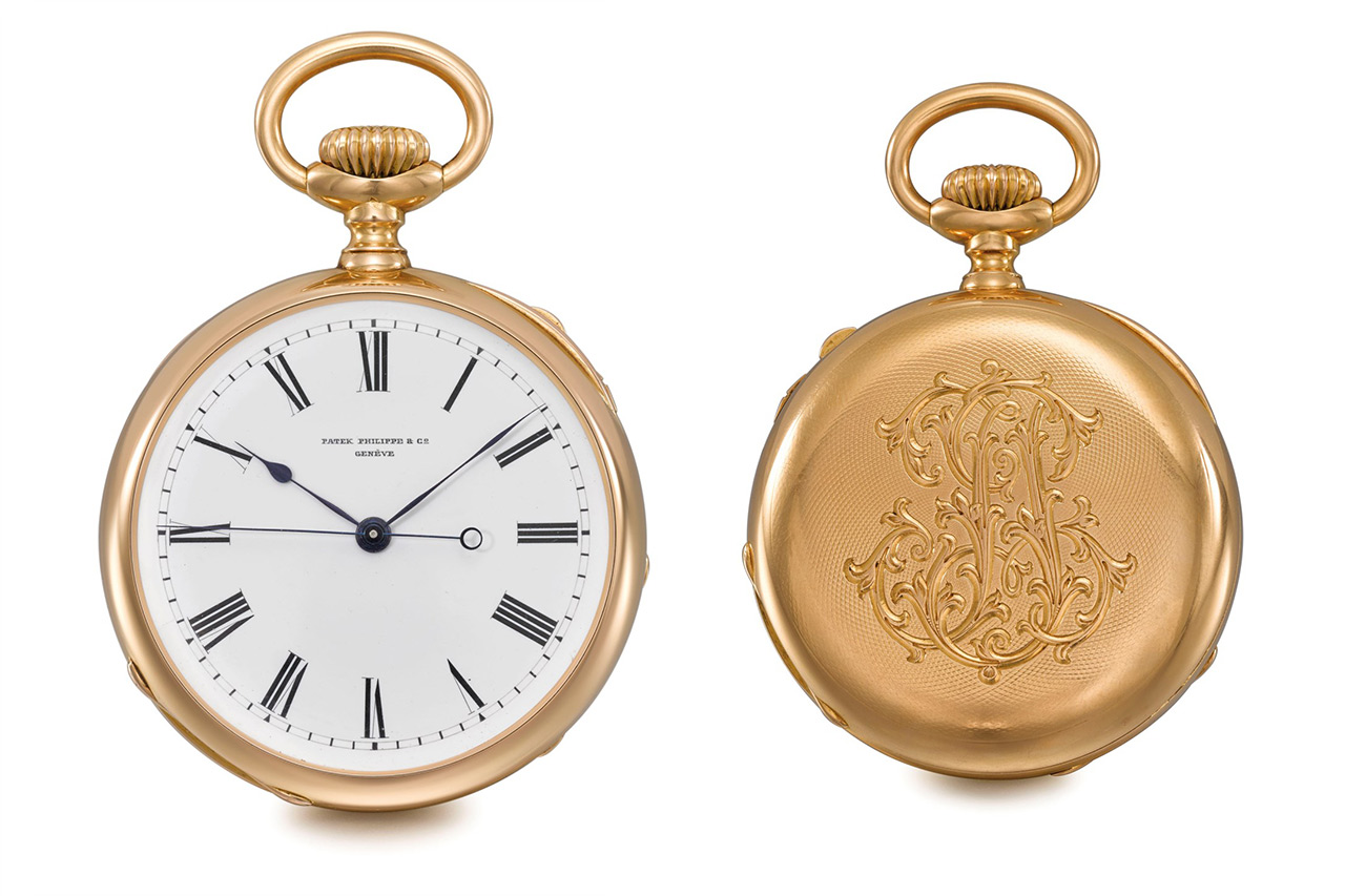Lot 241: 1888 Patek Philippe Open Face Two Train Independent Dead Beat Centre Seconds Pocket Watch
