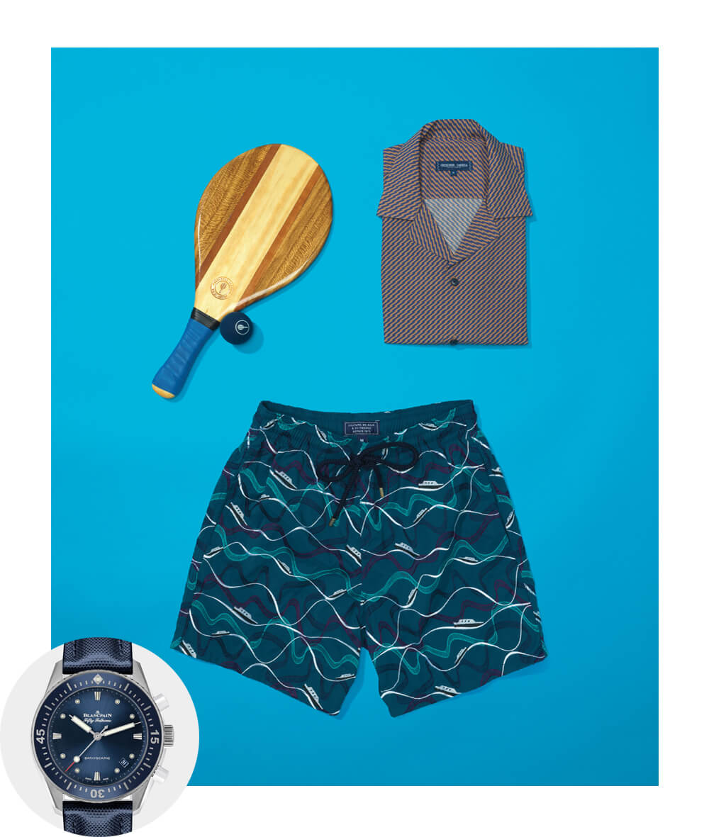 Blancpain Fifty Fathoms Watch Frescobol Carioca Pepe Camp Collar Short Sleeved Shirt