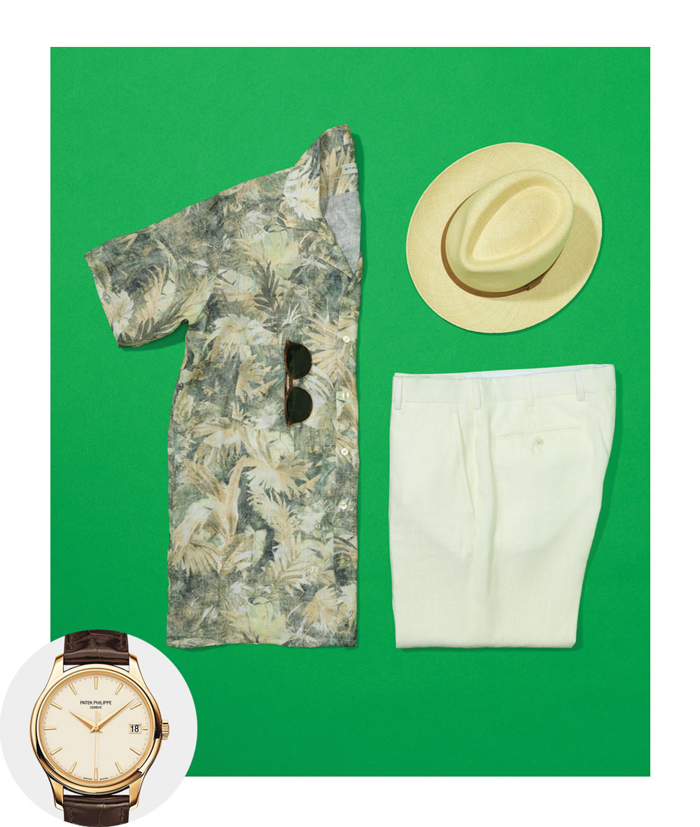 Patek Philippe Calatrava Watch Etro Camp Collar Printed Linen Shirt