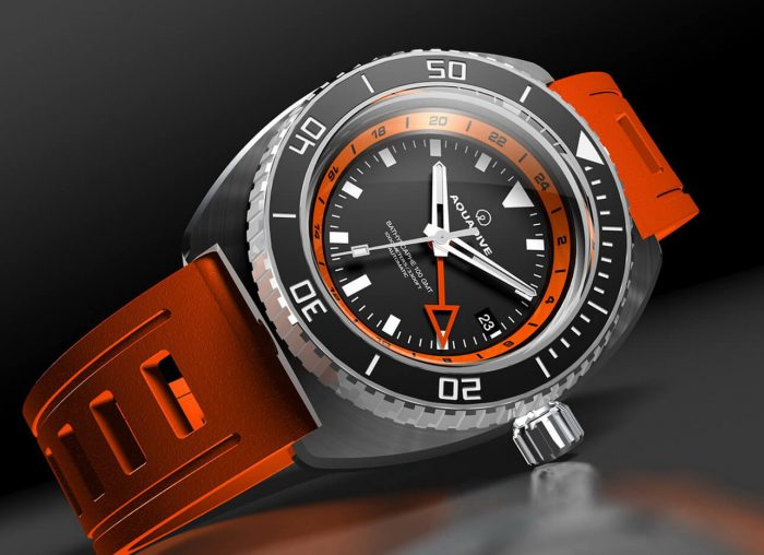 Aqua Dive Watch Bathyscaphe 100 GMT Orange
