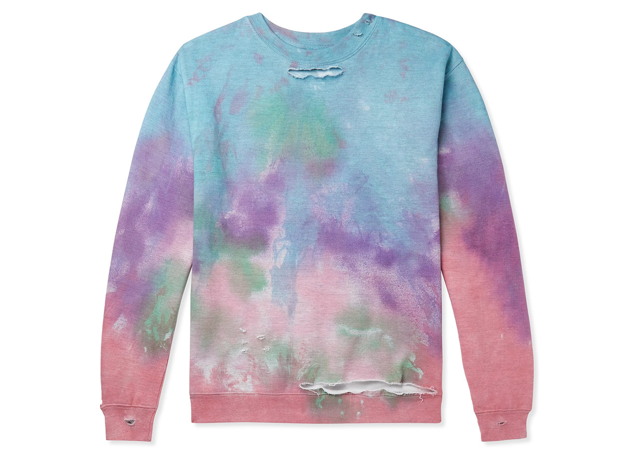Ev Bravado Distressed Tie-dyed Jersey Sweatshirt