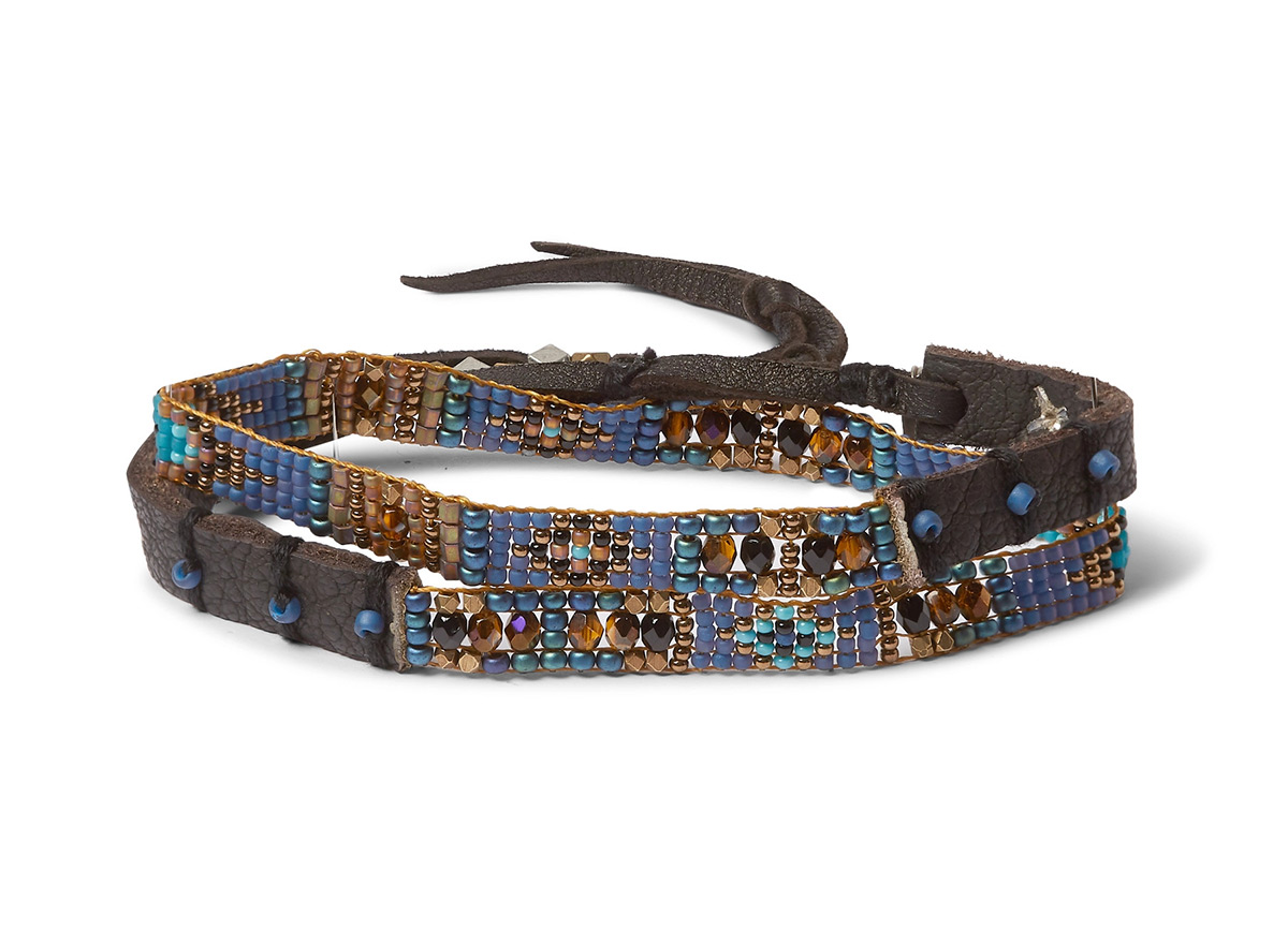 Peyote Bird Multi-stone and Leather Wrap Bracelet