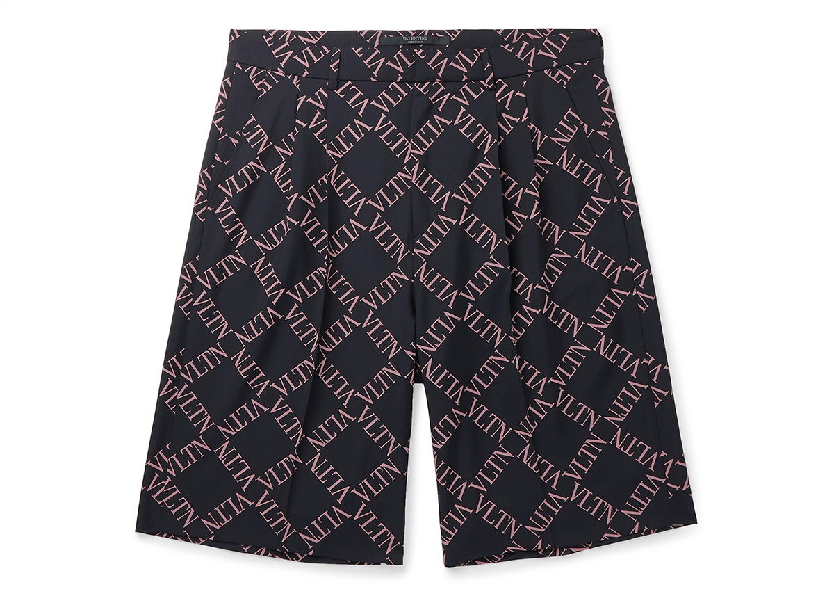 Valentino Pleated Logo Print Shorts