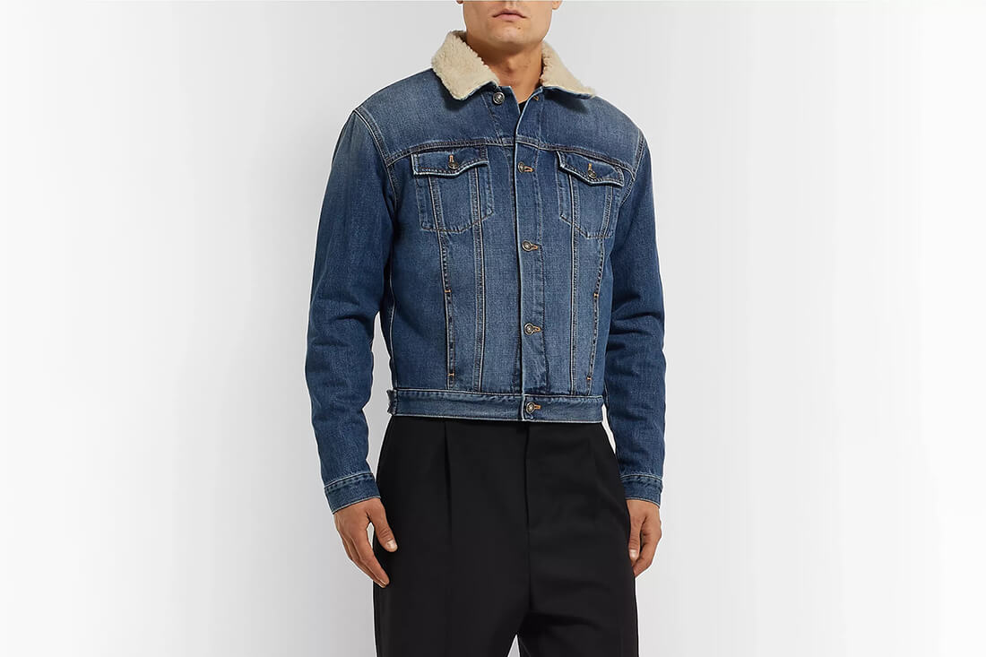 Givenchy Slim-Fit Shearling-Trimmed Demin Jacket