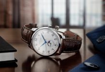 Longines Master Moonphase with silvered dial on brown strap