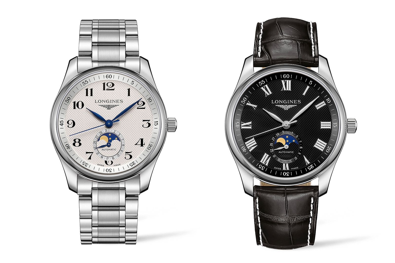 Longines Master Moonphase with silvered or black dial