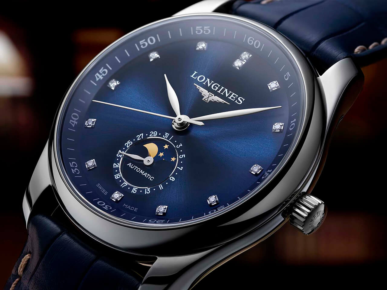 Longines Master Moonphase with sunray blue dial