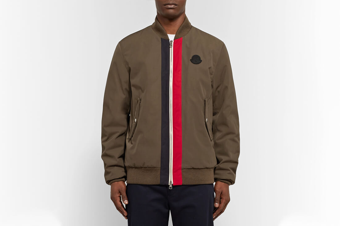 Moncler Tacna Striped Shell Down Bomber Jacket