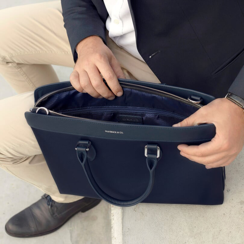 Navy Alpha Leather Trimmed Briefcase