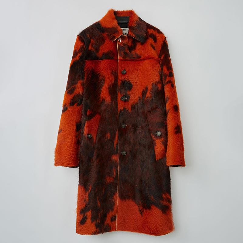 Orange brown cowhide coat