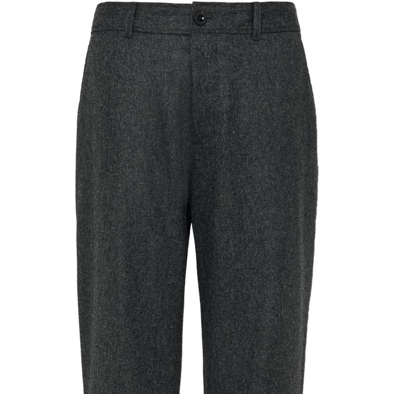 Wide legged wool flannel trousers
