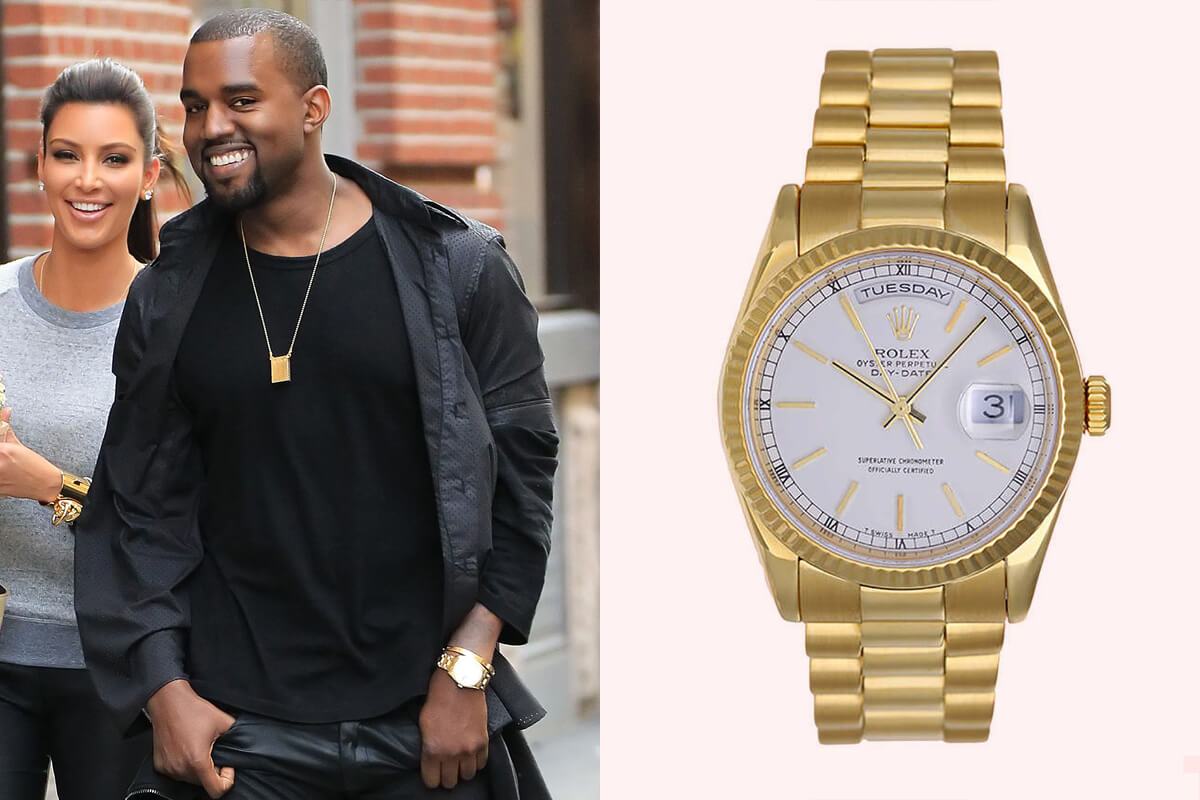 rolex white dial president day date yellow gold 118238 Kanye West