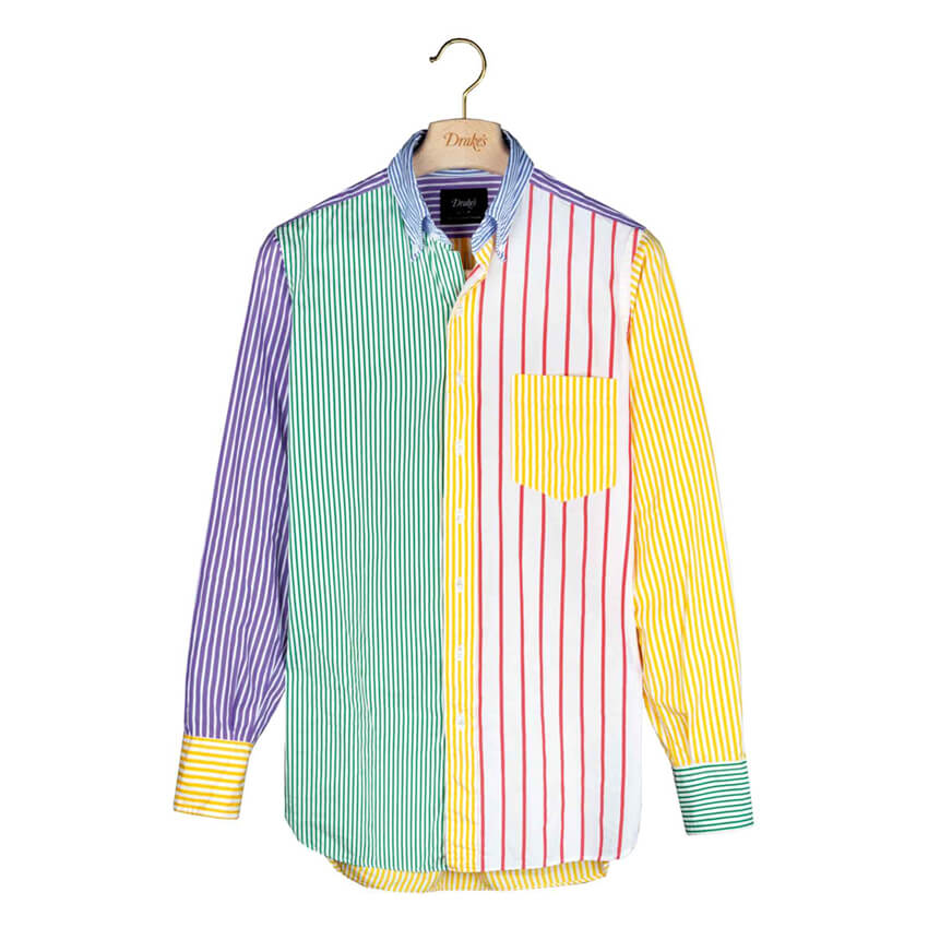 Drake's Multi-Colour Cotton Poplin 'Fun' Button-Down Shirt