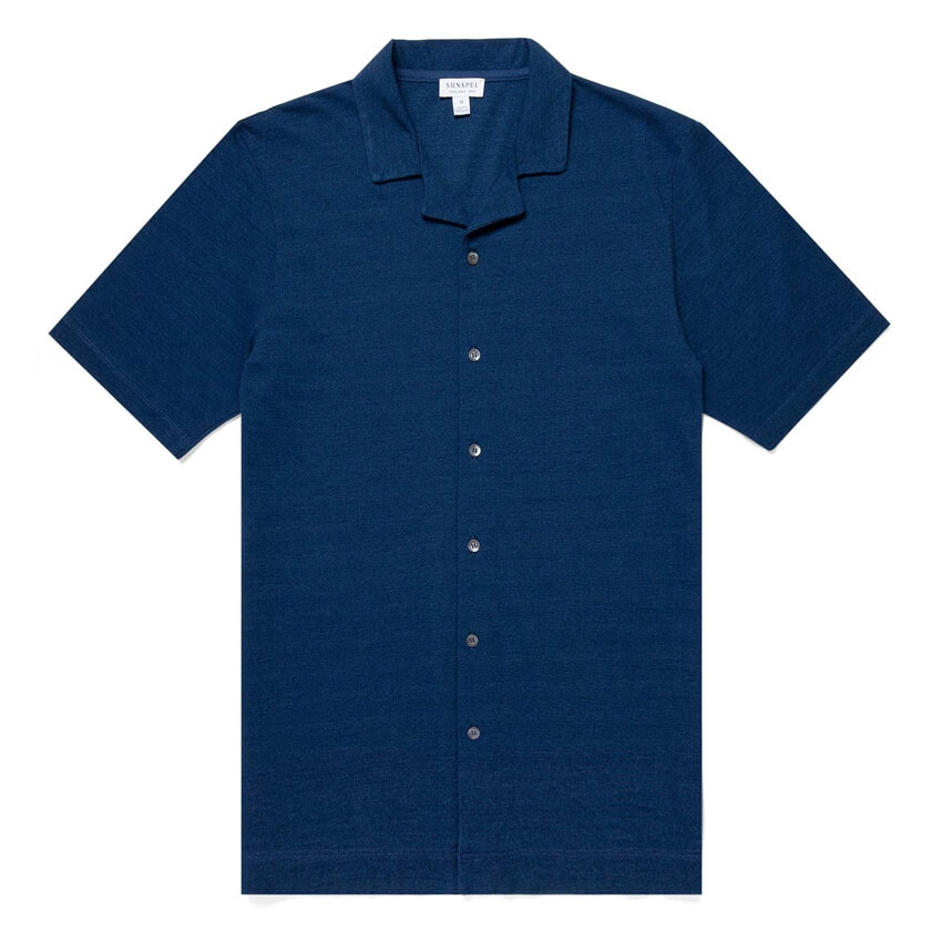 Sunspel Indigo Dyed Piqué Camp Collar Shirt