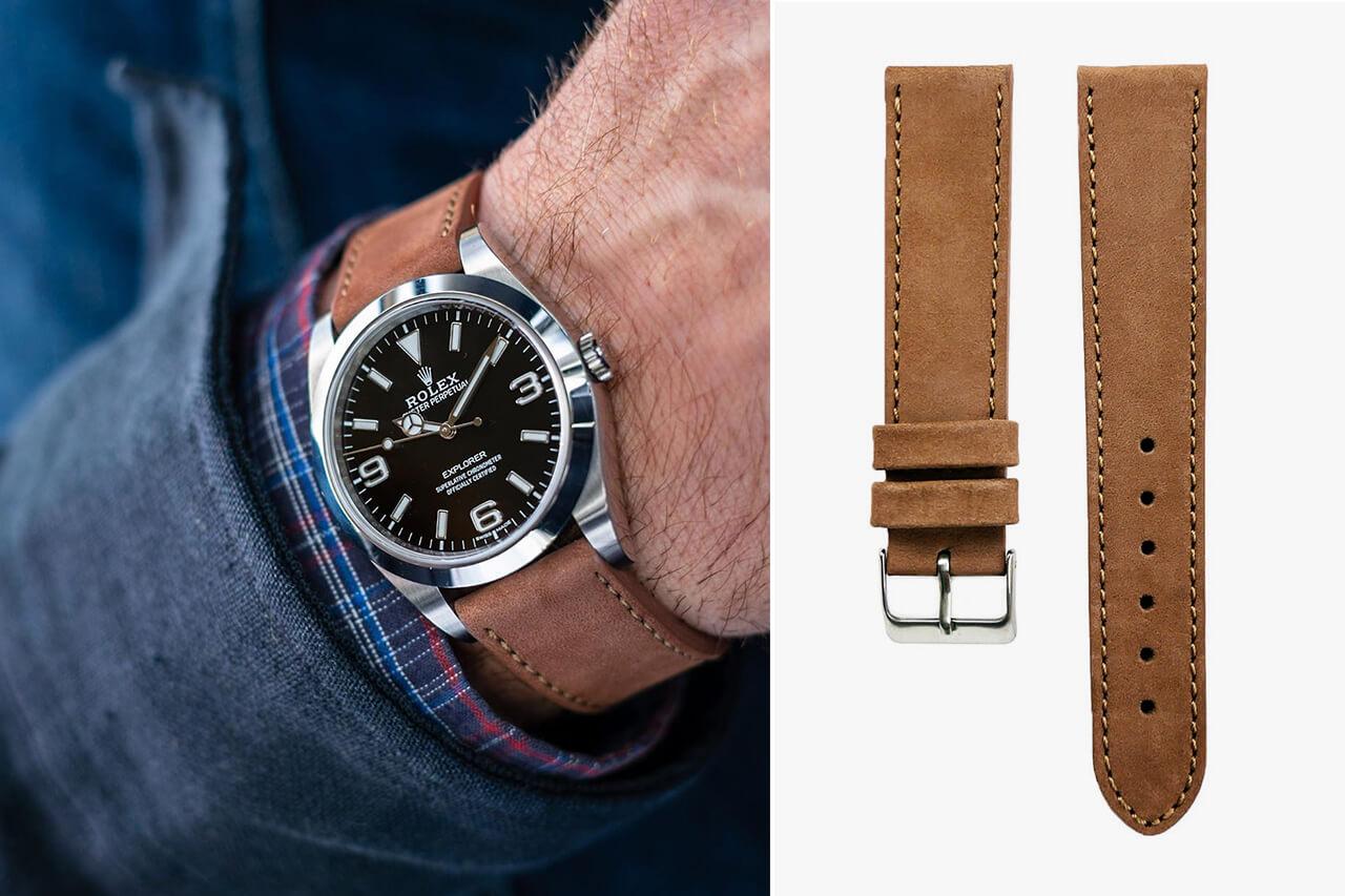Watch Bandit Pebro Watch Bandit Premium Nubuck Calfskin Hazelnut Brown Watch Strap