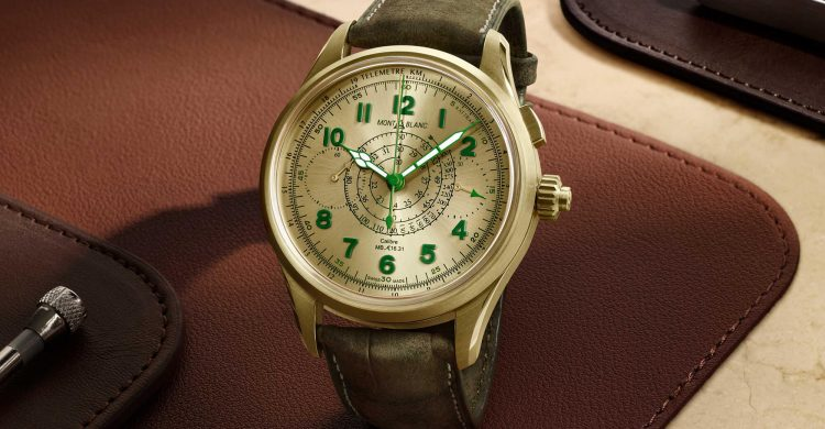 Montblanc 1858 Split-Second Chronograph Limited Edition 18 in Lime Gold