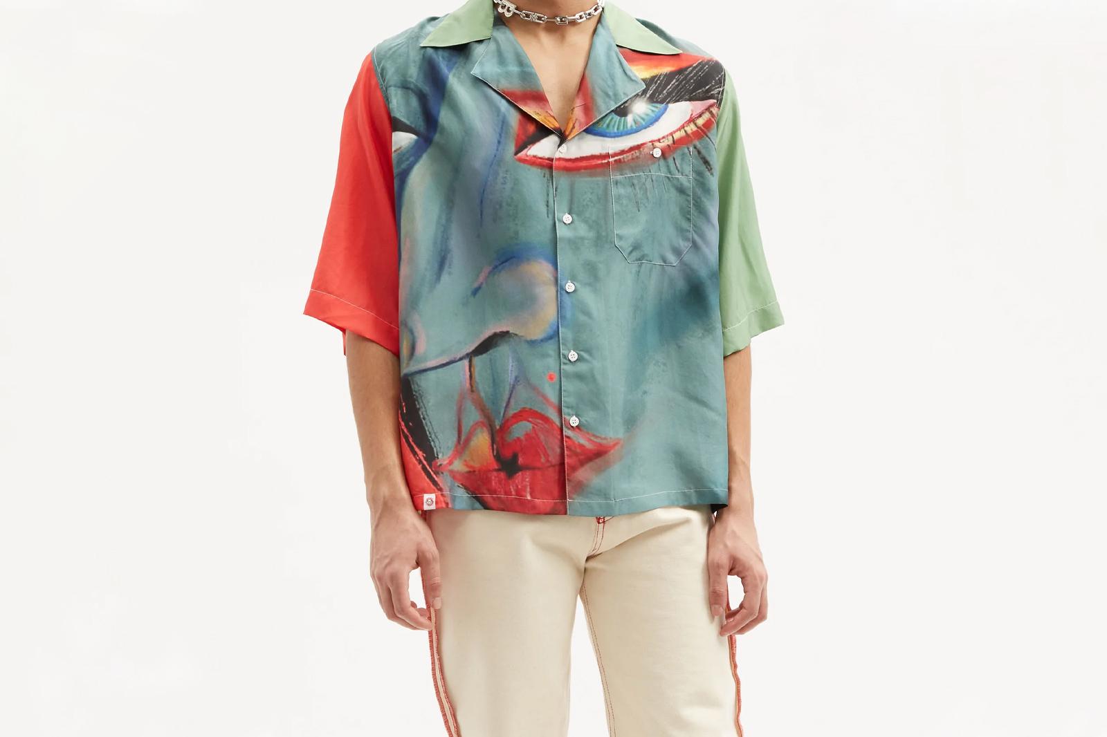 Charles Jeffrey Loverboy Face-print Silk-blend Shirt