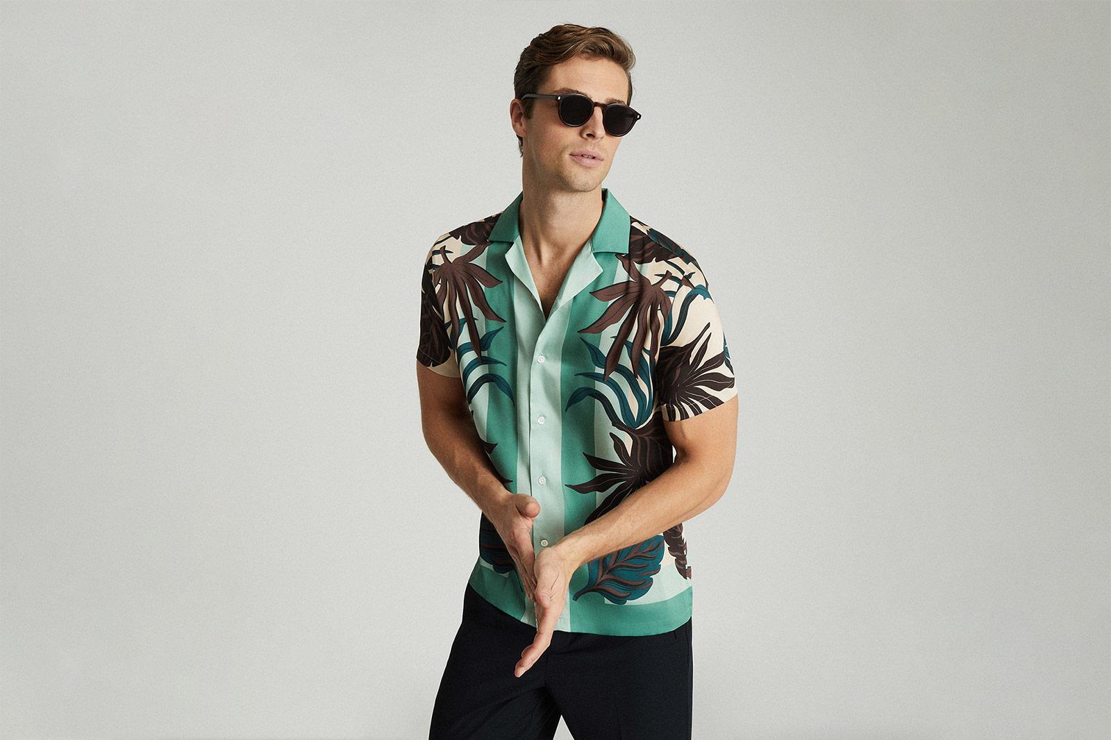 Reiss Printed Cuban Collar Shirt