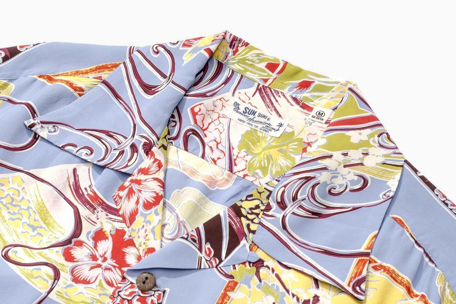 """Sun Surf SS36837 """"Paradise Flower"""" Hawaiian Shirt Blue"""